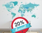 World map decal. Political world map Wall Decal. Country names  map Wall Sticker. Removable.SALE