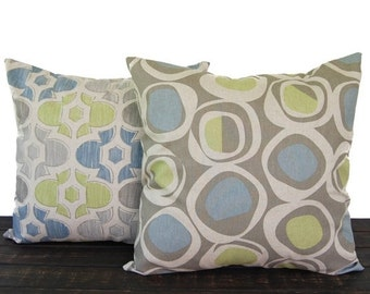 Pillows, Throw Pillow Covers, Cushion covers shams, Decorative Pillow, Pair of blue green kiwi gray beige oatmeal geometric modern