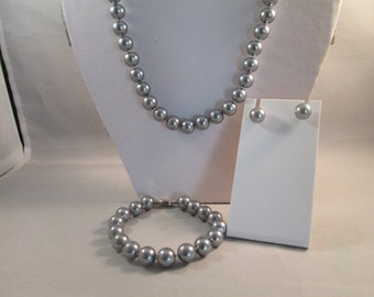 12mm Silver Sea Shell Pearl Necklace, Bracelet and Post Earrings Set