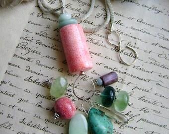 Resplendent, gemstone necklace, raw ruby, raw aquamarine, fluorite, jade, turquoise, phrenite, Italian coral, prasiolite, AnvilArtifacts
