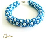Hand Woven 6mm Light Blue Czech Glass Pearl Bracelet with Teal Toho seed beads, silver accent beads, Silver magnet Clasp