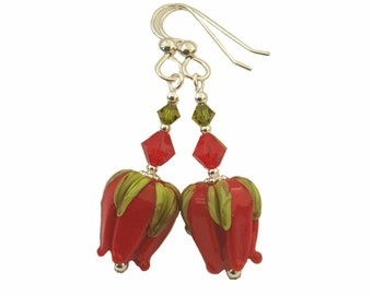 Red Red rose bud lampwork bead earrings with green leaves. Beautiful Red and Olivine Swarovski Crystals, Sterling Silver
