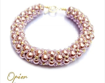 Hand Woven 6mm Lavender Czech Glass Pearl Bracelet with matching Toho seed beads, gold accent beads, and Gold Plated Toggle Clasp