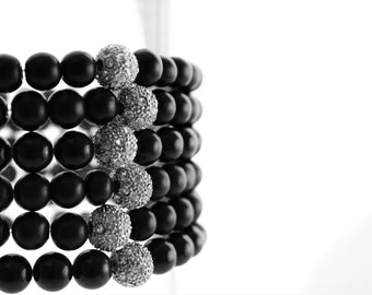Two Black Obsidian and Pave Rhinestone Beaded Stack Bracelets