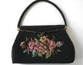 Vintage Black Beaded Purse, Tapestry needle point, Handmade in Hong Kong, Woman's accessory, Petit point, gift idea