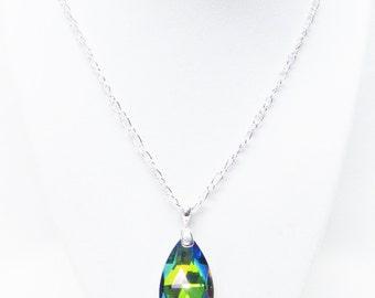 Crystal Glass Rainbow Teardrop Pendant Necklace