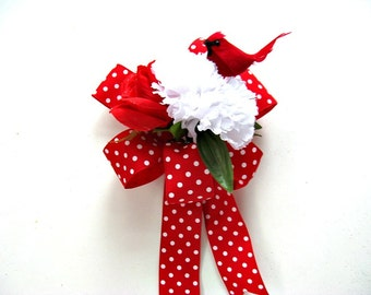 Red and white gift wrap bow, Birthday gift bow, Gift bow for men and women, Red cardinal gift bow, Flower bow for gift baskets (GN114)