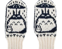 Totoro Mittens / Gloves  - 100% Hand Knit from pure merino wool