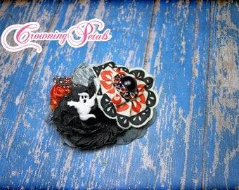 Black, Orange, Grey Headband, Halloween Hair Accessories, Ghost Hair Clip, Fabric Flower Hair Bow, Hair Accessory, Hair Piece, Halloween Bow