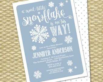 Little Snowflake Baby Shower Invitation Winter Baby Shower Baby Boy Baby Girl Sip and See Diaper and Wipes Baby Sprinkle