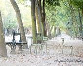 Paris photo, Luxembourg Garden, Dawn, Jardin du Luxembourg, Travel photo, wanderlust, trees, garden chairs, mint green, park benches, gift