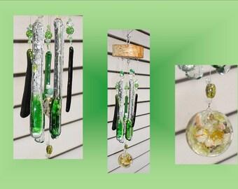 Green Glass Windchimes, Wooden Wind Chime, Fused Glass Art, Orgone Garden Decor, Stained Glass Mobile, Window Suncatcher