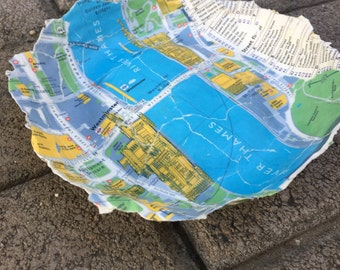 Handmade Paper Mache Bowl of London Map, River Thames and Westminster, Small