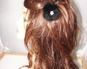 HP-11 2 Pieces Black Rabbit & Faux Pearl Fur Ball Barrette Hairpiece Decorations Pin Gift Clip