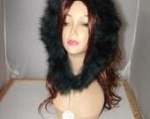 "R-91 Genuine Dyed Turquoise Green Raccoon fur Ruff Trim for Hood 31"""