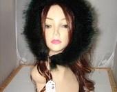 "R-96 Genuine Green Fox fur Ruff Trim for Hood 28"""