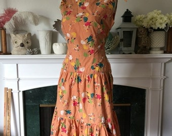 50s Novelty Print Ethnic Parasol Cotton Summer Dress
