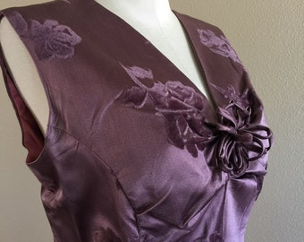 60s Plum Silk Rose Velvet Party Dress with Jacket