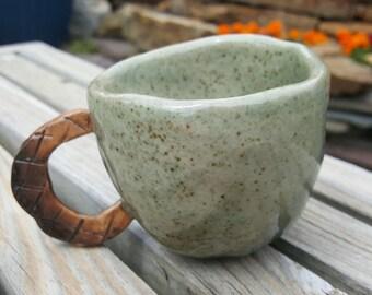 Green Pinch Pot Teacup, Hand Built Stoneware Pottery