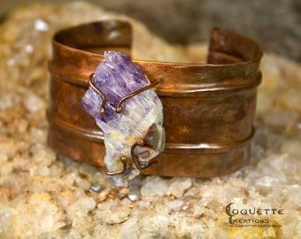 Amethyst Crystal  Hammered Copper  Cuff