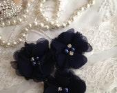 SALE-CUSTOMIZE-Wedding Garter-Navy-Chiffon-Shabby-Flower-Pearl-Aqua-Red-Coral-Blue-Rhinestone-garter belt-Garter-Vintage-Bridal-Toss Garter
