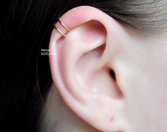No Piercing Comfortable Two Rings Helix Ear Cuf/piercing imitation/double rings helix ear jacket/oreille manchette/fake faux ohr piercing