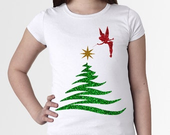 FLASH  SALE! Tinkerbell Christmas/Holiday Tree * Glitter * White * Girl's/Kid's/Youth Disney Disneyland/World sz xs, S, M, L, XL