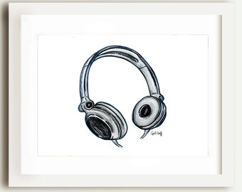 Music Lover Headphones Print | Wall Art, Music Illustration, Musician Drawing, Gift, Creative Gift, Black and White