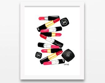 Imprimir acuarela lápiz labial de Mac y Chanel | Arte de la pared, dibujo de moda, Ilustración lápiz, Color maquillaje foto, Coco Chanel, Mac Cosmetics
