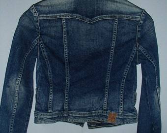 VINTAGE GUESS JEANS Jacket Red Label Distressed Faded Cropped Style Embroidered Blue Jean Jacket By Guess 1990s