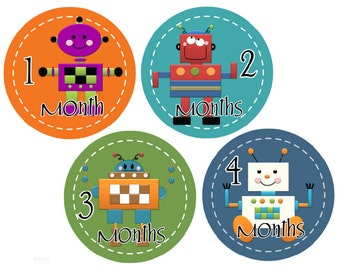 Milestone Stickers Monthly Baby Stickers Monkey Baby Month Stickers Boy Monthly Stickers Robots