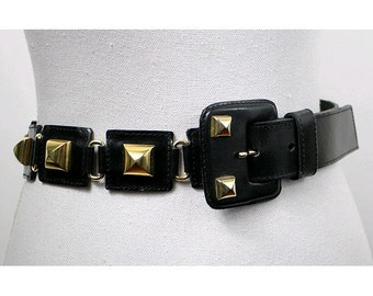 90s BELT  PRINTEMPS  made in italy  small gold studs leather buckle