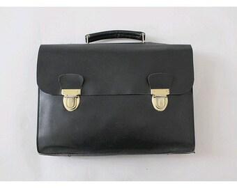 french vintage black leather Satchel