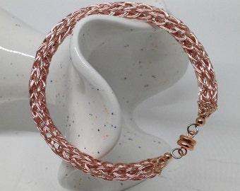Fantastic rose gold ladies viking knit metalwork bracelet
