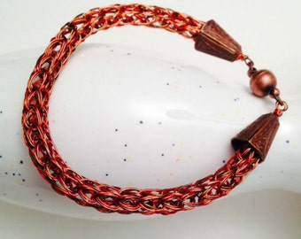 Viking knit bracelet orange and brown with magnet clasp