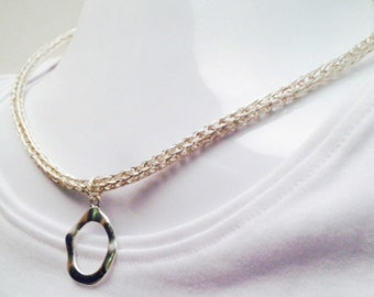 Ladies Viking Knit silver necklace with loop pendant
