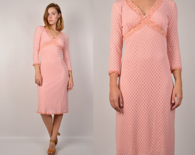 Vintage Betsey Johnson Pink Bodycon Midi Dress