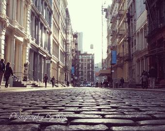 Original photograph of Greene Street in NYC. Soho vintage look.