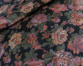 "Fabric Black Rose Floral Pattern Velour Plush Velvet Feel Soft Fabric Yardage - 44"" x 140"" 4 yards total"