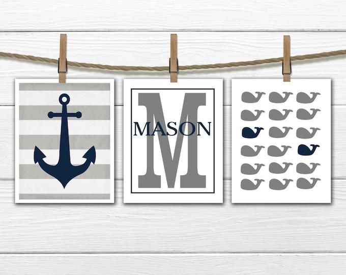 Nautical Nursery Prints  - 3 Print Set -  Nursery Decor -  Whale Nursery  -  Gray & Blue Nursery Decor