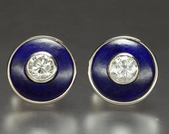 Exquisite Genuine 2ct Diamond and Lapis Earrings in 18kt Palladium White Gold Custom Hand Fabricated