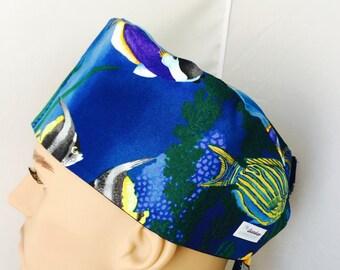 Surgical Scrub Cap - Tropical Fish Scrub Hat - animal scrub cap - Ocean scrub hat
