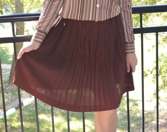 Brown Skirt, Vintage Women's Skirt, Pleated, Zippered Skirt