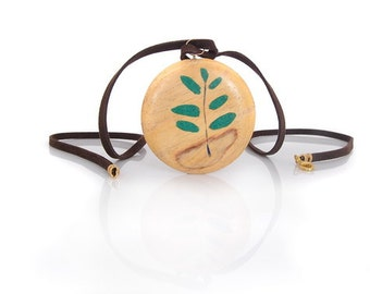 Wood Pendant with Green Malachite Leaves and Stem - Natural Green