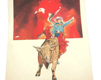 Rodeo Lithograph - Rodeo Print - Bull Rider - NFR Lithograph - 1977 National Finals Rodeo - Hesston Corp - Free Shipping - 4HTT16