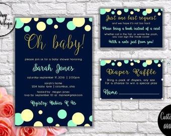 OH BABY! (blue & cream) Baby Shower Invitation - Digital