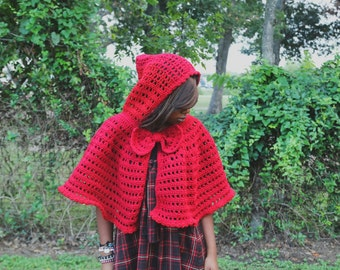 The Red Riding Hood Crochet Cape Pattern. Instant Download!