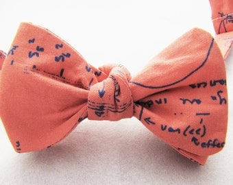 Men's Freestyle Bowtie - Coral & Navy Stats