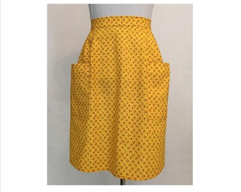 Retro 1960s Apron New Vintage Half-Apron Sewn from 1966 Pattern in Cheery Yellow Calico with Two Pockets