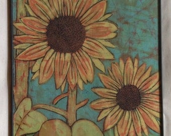 Batik sunflowers - yellow - orange - turquoise
